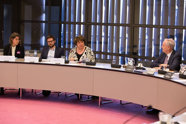 SER-presidents Mariette Hamer speaking during the government hearing about IRBC in the Dutch Parliament.