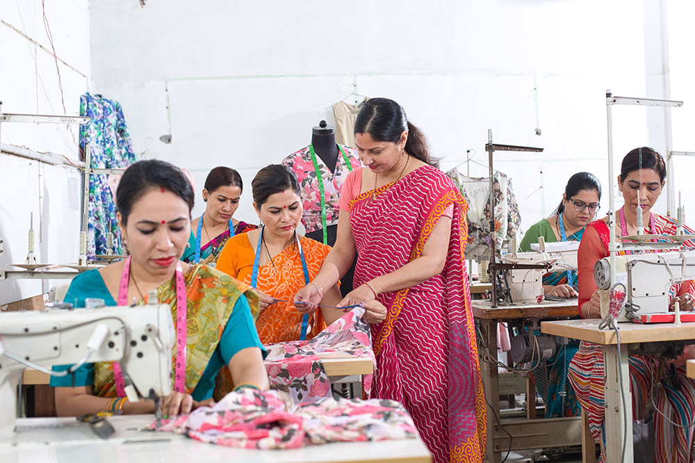 Textile workers in factory
